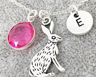 Custom Rabbit Charm Necklace, Bunny Rabbit Gift, Animal Jewelry, Customized Birthstone Initial Necklace, Custom, initial, Monogram, Bunny