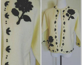 Clearance *** Vintage Cardigan with Black Flowers