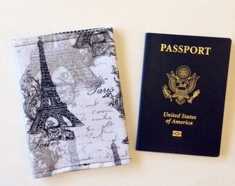 Paris Passport Cover, Travel Wallet,  Fabric Passport Holder, Study Abroad Gifts,  Passport Case Holder, Black Passport Cover, Travel Gifts