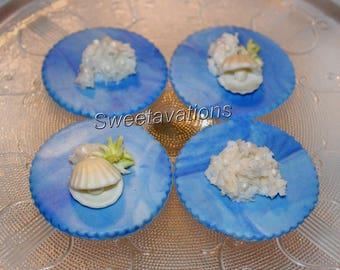 Fondant Pearls & Shells Cupcake Topper (Qty 12) – Ocean Cupcake Toppers – Fondant Shells - Fondant Pearls - Fondant Coral – Wedding - Bridal