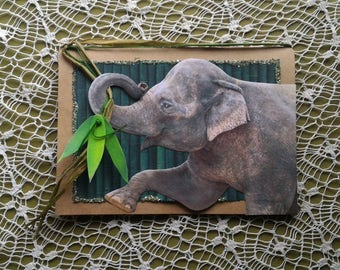 Handmade Greeting Card: Elephant,jungle,bamboo,embellished,animal,any occasion,nature,animal lover,dimensional,embellished,nature