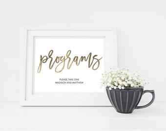 Wedding Sign Template   Programs Sign   Wedding Sign   Printable Wedding Sign   5x7 & 8x10   EDN 5433
