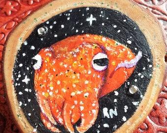 Tiny Squid Brooch - Miniature Cephalopod Painting - Wood Slice Art - Nautical Art