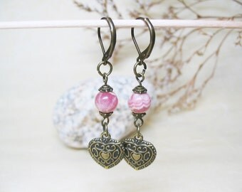 Rhodochrosite Earrings Vintage Earrings Rhodochrosite Jewelry Dangle Earrings Romantic Earrings Gemstone Earrings Love Jewelry Heart Charm