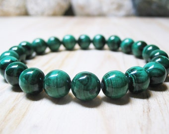 Genuine Malachite Bracelet Heart Chakra Bracelet Mens Bracelet Spiritual Bracelet Balance Bracelet Unisex Bracelet Wrist Mala Bracelet