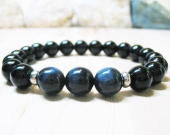 Mens Bracelet Blue Tiger Eye Bracelet Black Onyx Bracelet Energy Bracelet Gemstone Bracelet Mala Bracelet Tiger Eye Bracelet 10mm Tiger Eye