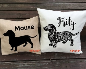 Personalized Dachshund Pillow - Doxie Silhouette Pillow - Dog Pillow Cover - Burlap Pillow - Home Decor - Decorative Pillow - Dog Decor