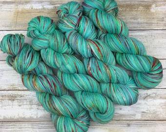 Hand Dyed Yarn | Superwash South American Wool/Nylon Blend | Robust Sock/Fingering Weight | 100 g.| Watermelon Mint | 4-ply