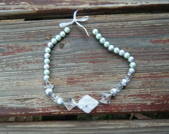 Minimal Mint glass and white faux Pearl Necklace