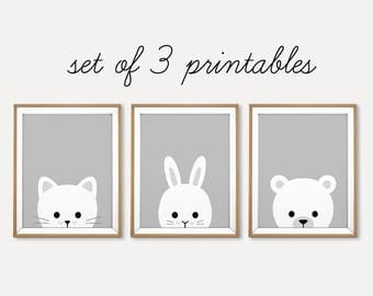 Animal Nursery Set, Nursery Set Print, Nursery Printable, Printable Animal Set, White Grey Nursery Art, Baby Animal Print, Cat Rabbit Bear