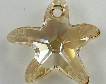 16mm Swarovski crystal starfish pendant 6721 goldenshad 2139