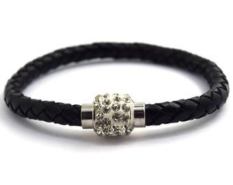 6mm black braided leather steel magnetic clasp bracelet 36375