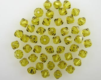 48 4mm Swarovski crystal bicone 5301 Lime beads 7861