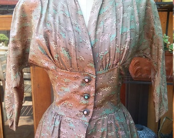 1950s Iridescent Silk Taffeta Novelty Print Colorful Field of Cotton Balls Shelf Bust Circle Skirt 50's