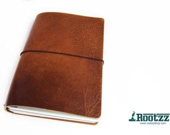 A5 travelers notebook Cognac velvet -midori - fauxdori -dori -planner - art journal