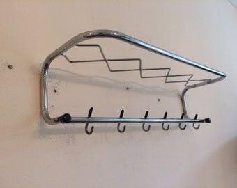 Mid century chrome wall mounted coat rack / modern / hat rack / vintage / retro design