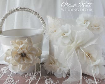 Ring Bearer Pillow, Flower Girl Basket, Wedding Ring Pillow, Ivory, Wedding, Chiffon Flowers
