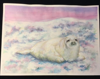 "Unframed Original Watercolor Painting of a White Seal (15"" x 11"")"