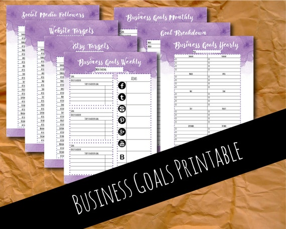 Goal planner, goal tracker, goal setting, planner inserts, goals printable, business printable, small business, etsy planner, A4