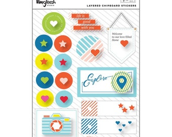 Pinkfresh Studio THE MIX NO. 1 Collection Scrapbook Layered Chipboard Stickers