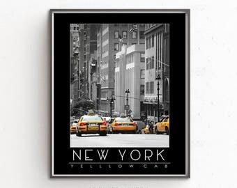 Yellow Taxi Print, New York print, New York Yellow Taxi Print, New York Taxi Poster, NYC Taxi Print, NYC Print, New York Yellow Cab Poster