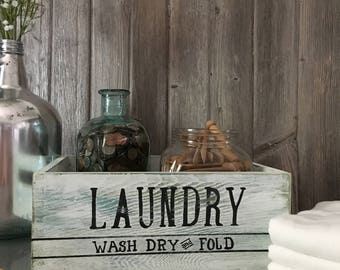 Laundry room decor, wooden crate, laundry storage, housewarming gift, farmhouse decor, laundry, wooden shelf, home decor