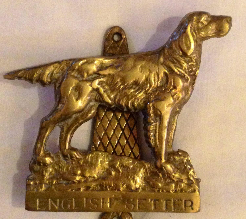 Vintage dog english setter door knocker solid brass