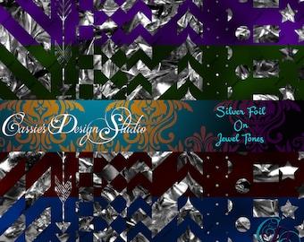 Silver Foil on Jewel Tones Digital Paper
