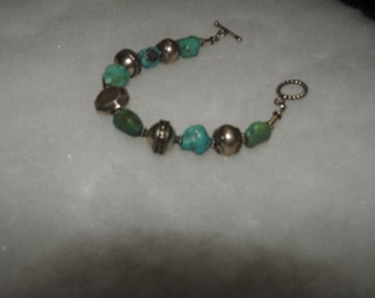 Turquoise Beads Bali silver Bracelet
