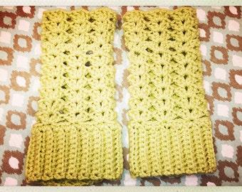 Lime Green Crocheted Adult Size Fingerless Gloves