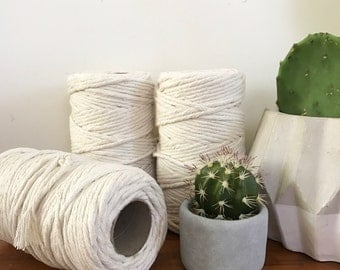 Macrame Cord 5mm x 150m Twisted, Easy to Unravel/Fringe, Soft Cotton