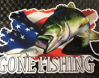 Gone Fishing Boat Graphics Takel Box Truck Decals Catfish Bass FREE SHIPPING