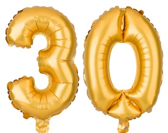 30 Number Balloons, 30th Birthday Party Balloons, 30 Balloon Numbers, 30 Party Supplies, 30th Birthday Decorations, Decor, 16 Inch Gold