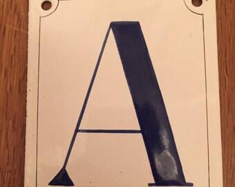 Vintage Enamel sign. Letter A. 1930's Rotterdam. Rare condition!