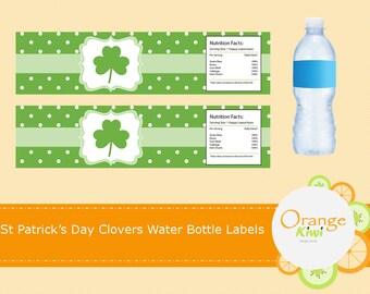 Shamrock Water Bottle Wraps, Shamrock Water Bottle Labels, St Patrick's Day Party Decor, Water Bottle Wraps, Waterproof Labels