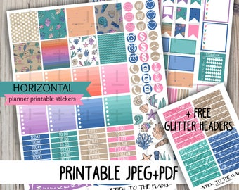 Horizontal sea printable planner stickers ocean starfish seashell corals navy blue weekly summer kit for use with Erin Condren LifePlannerTM