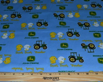 JOHN DEERE FABRIC For Baby! 1/2 Yard For Quilting / Tractor - Logo - Ducks - Blue