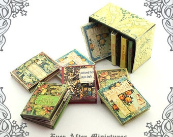 10 Fairy Tale Dollhouse Miniature Book 1:12 –Full Set of 10 Walter Crane Vintage Fairy Tale Miniature Books + Special Box Printable DOWNLOAD