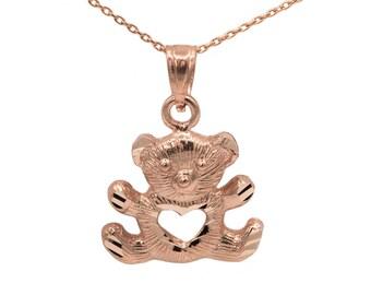 14k Rose Gold Teddy Bear Necklace