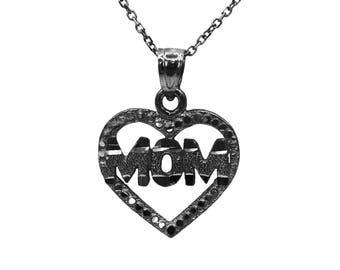 925 Black Sterling Silver Heart Mom Necklace