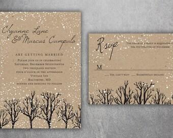 Winter Wedding Invitations, Snow Wedding Invitation, Woodsy, Rustic, Tree,  Woods,