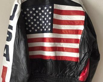 USA Flag Short Vintage Black Genuine Leather Jacket Men's Size Medium.