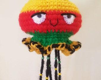 Rastafarian jellyfish crochet Keychain