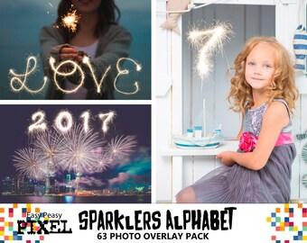 SPARKLERS ALPHABET Overlays, New Years Eve, Sparklers overlays, photoshop overlays, photoshop overlay, cursive alphabet, wedding overlays