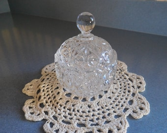 Decorative Glass Covered Sugar Bowl/Candy Dish/ Trinket Holder