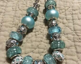 Beautiful Teal jeweled european style bracelet