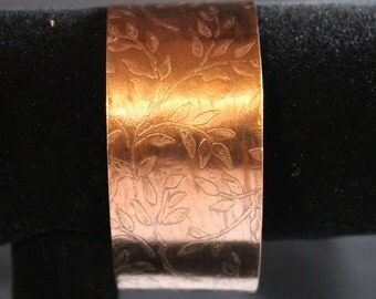 Etched Copper Cuff Bracelet (022017-041)
