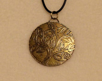 Etched Brass Pendant (041917-006)