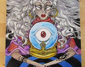Divination - Original Mixed Media Drawing