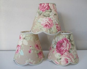 Scallop for chandelier lampshades and applique: shades pink flowers on beige background, shabby fabric - handmade to order